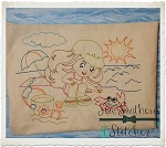 Sketched Stitched Beach Girl ~ Vintage Stitched ~ Bean Stitched ~ Heirloom Stitched