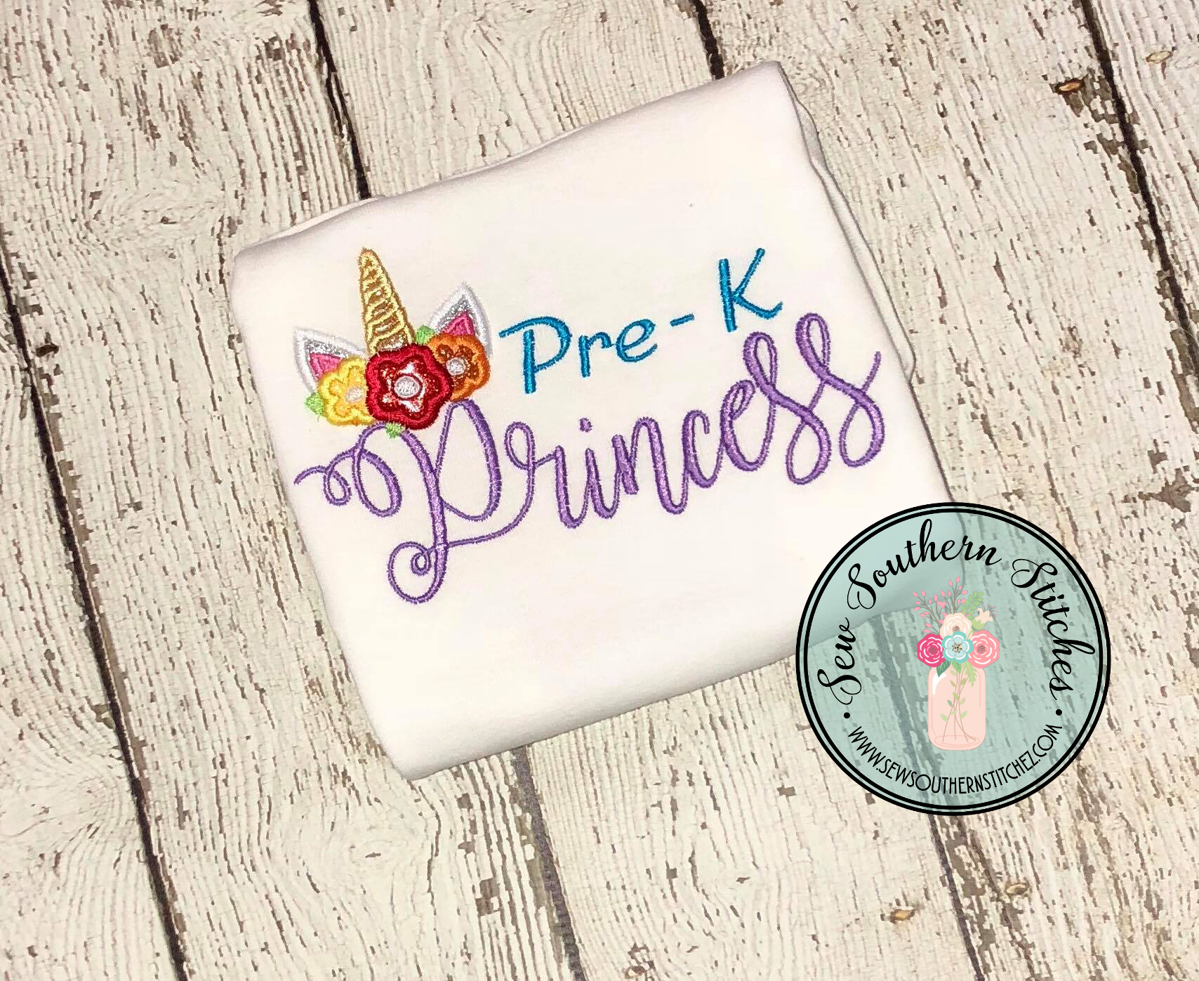 Pre K Unicorn Princess Embroidery Design Girls Back To School