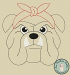 Raggedy Headband Bulldog Applique Design ~ Bean Finish ~ Quick Stitch