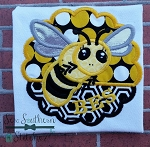 Bee Scallop Circle Applique ~ Bees~Yellow Jackets~Hornets Mascot