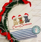 Christmas Hat Labrador Dog Trio Filled Embroidery Design ~ Chocolate Lab, Yellow Lab or Black Lab ~ Lite Filled Design