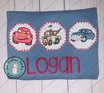Faux Smocked Lightening McQueen, Tow Mater and Doc Friend Trio Embroidery Design