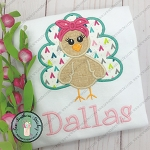Headband Girly Turkey Applique Design ~ Turkey With Bandana