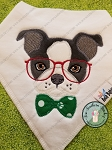 Zig Zag Boston Terrier Applique Design ~ Zig Zag Finish Dog Applique