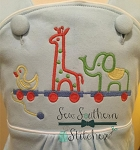 Animal Train Embroidery Design ~ Circus Animals ~ Pull Toy Train