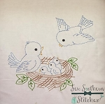 Sketched Bird Nest ~ Vintage Stitched ~ Heirloom Stitched ~ Bean Stitched