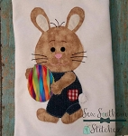 Raggedy Boy Bunny With Egg Applique ~ Quick Stitch