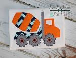 Raggedy Cement Truck Applique ~ Quick Stitch