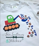 Raggedy Rock Digger Applique ~ Quick Stitch Backhoe