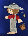 Fishing Boy Applique Design ~ Huck Finn