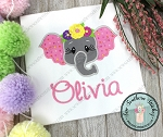 Floral Crown Elephant Head Applique Design ~ Safari Animal