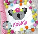Floral Crown Koala Applique Design ~ Safari Animal