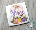 Floral Number 3 (Three) Applique Design ~ Girly Boho Chick Birthday Design