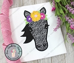 Floral Crown Zebra Applique Design ~ Safari Animal