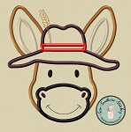 Donkey Head Wearing Hat Applique Design ~ Satin Finish ~ Fun Donkey wearing Hat