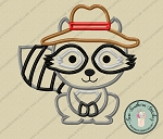 Hat Wearing Raccoon Applique Design ~ Satin Finish