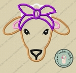 Sheep Wearing Headband ~ Do-Rag Applique Design ~ Boho Country Farm Animal ~ Satin Finish