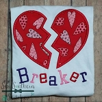 Heartbreaker Heart Applique Design ~ Valentine's Day Design
