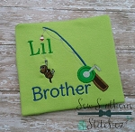Lil Brother Fishing Pole Applique Design ~ Sibling Design