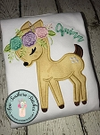 Floral Fawn Applique Design ~ Baby Deer with Floral Crown