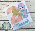 Sweet Mermaid Girl Applique With Dolphin