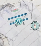 Biplane Applique Design ~ Monogram Circle