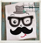 Mustache Man with Glasses and Hat Applique Design