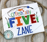 O' Fish' Ally FIVE Fishing Birthday Applique Design
