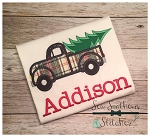 Old Truck Hauling Christmas Tree Applique Design