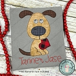 Raggedy Doggie with Heart Applique Design
