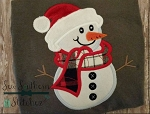Santa Hat Snowman Applique Design