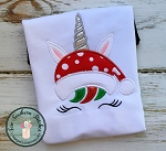 Christmas Unicorn Face Applique Design  ~ Santa Hat Unicorn