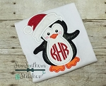 Santa Hat Penguin Applique Design