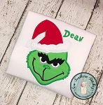 Grinch Applique Design ~ Satin Stitch ~ Green Man Hates Christmas
