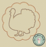 Scallop Circle Turkey Applique Design ~ Thanksgiving Turkey