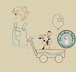 Sketched Boy Pulling Wagon ~ Dog in Wagon ~ Floating Balloon ~ Vintage Stitched ~ Heirloom Stitched ~ Triple Bean Stitched