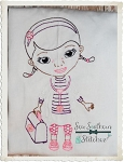 Sketch Girl Doctor ~ Vintage Stitch ~ Heirloom Stitch ~ Bean Stitched