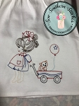 Sketched Girl Pulling Wagon ~ Kitty in Wagon ~ Floating Balloon ~ Vintage Stitched ~ Heirloom Stitched ~ Triple Bean Stitched
