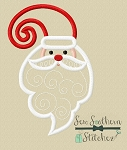 Whimsical Santa with Swirly Beard ~ Santa Head Applique Design