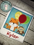 Tiger Monkey Balloon Square Applique Design ~ Happy Birthday Design