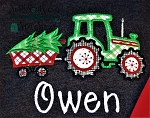 Tractor Trailer Hauling Christmas Tree ~ Applique Design