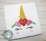 Unicorn Face Applique Design ~ Unicorn with Crown of Hearts