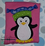 Winter Hat Penguin Applique Design