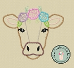 Zig Zag Floral Crown Cow Applique Design ~ Farm Animals
