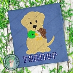 Zig Zag Labrador Dog with Duck Applique Design