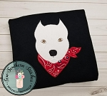 Zig Zag Pit Bull Dog Applique ~ Bandana Wearing Bull Dog