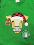 Zig Zag Santa Hat Cow Head Applique Design ~ Tag on Ear for Number or Monogram