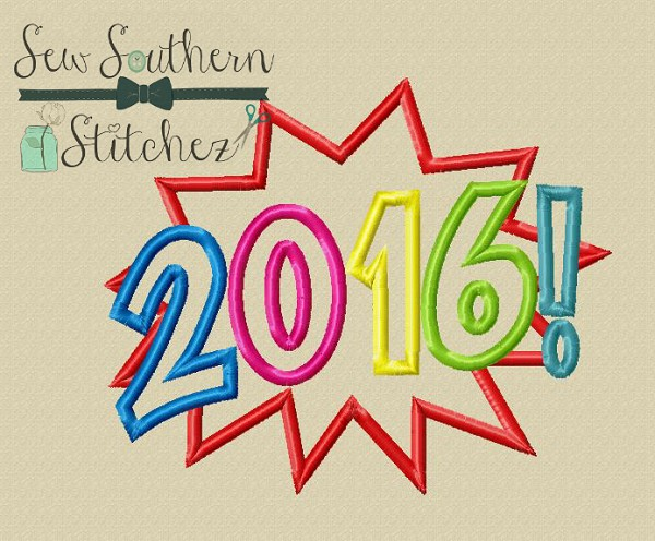 2016 New Years Burst Applique Design ~ Satin and ZigZag