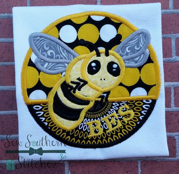 Bee Circle Applique ~ Bees~Yellow Jackets~Hornets Mascot