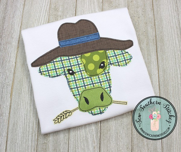 Raggedy Cow Head Wearing Hat Applique Design ~ Funky Cow with Hat